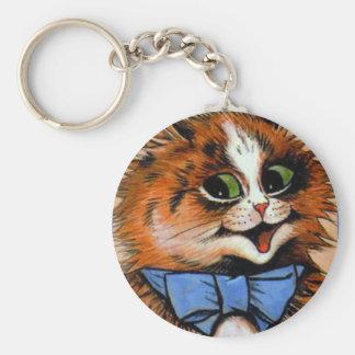 Gato feliz (imagen del vintage) llavero redondo tipo pin