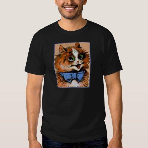 Gato feliz (imagen del vintage) playeras