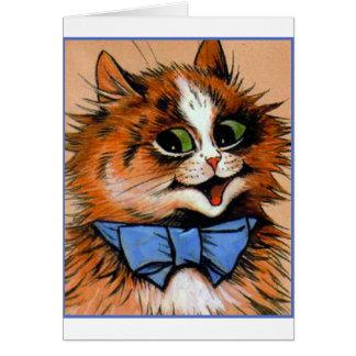 Gato feliz (imagen del vintage) tarjeta de felicitación