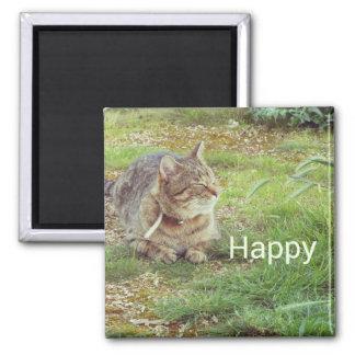 gato feliz imán cuadrado