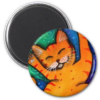 Gato feliz imán redondo 5 cm