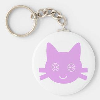 Gato feliz lindo observado botón rosado del gatito llavero redondo tipo pin