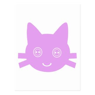 Gato feliz lindo observado botón rosado del gatito tarjetas postales