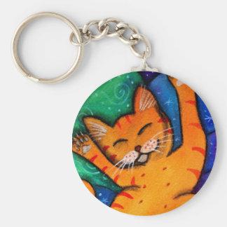 Gato feliz llavero redondo tipo pin