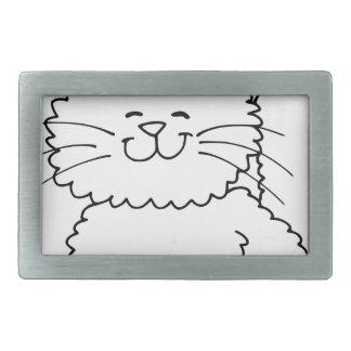 Gato feliz mullido lindo hebilla de cinturón rectangular
