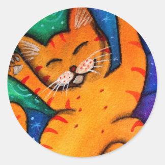 Gato feliz pegatina redonda