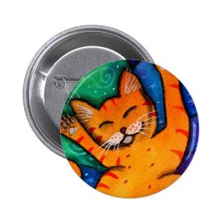 Gato feliz pin redondo de 2 pulgadas