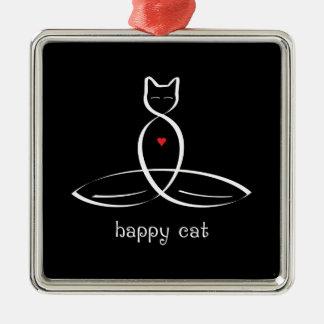 Gato feliz - texto de lujo del estilo adorno navideño cuadrado de metal