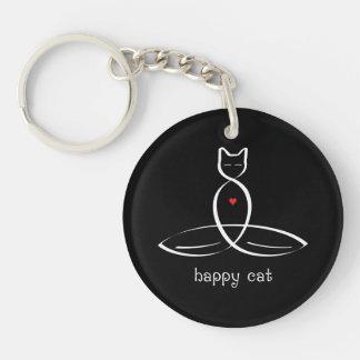 Gato feliz - texto de lujo del estilo llavero redondo acrílico a una cara