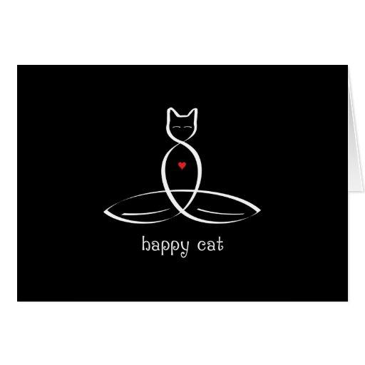 Gato feliz - texto de lujo del estilo tarjeta pequeña
