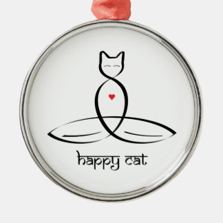 Gato feliz - texto sánscrito del estilo adorno navideño redondo de metal