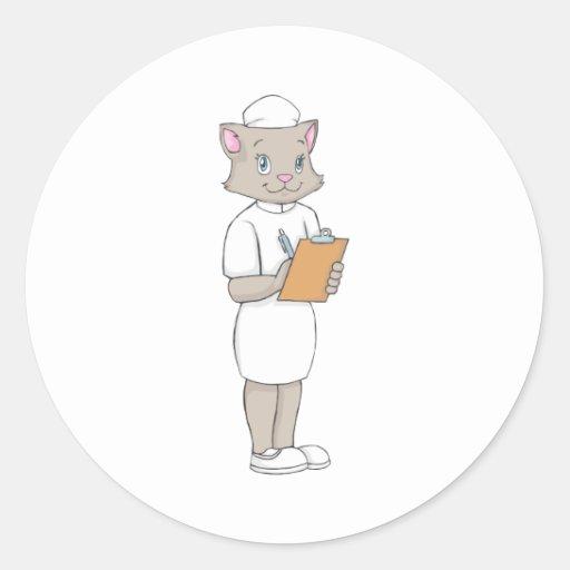 Gato femenino de la enfermera pegatina redonda