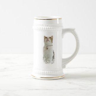 Gato floral blanco - stein de la taza