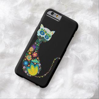 Gato floral colorido funda de iPhone 6 barely there