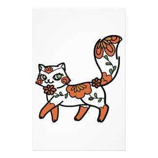 Gato floral personalized stationery