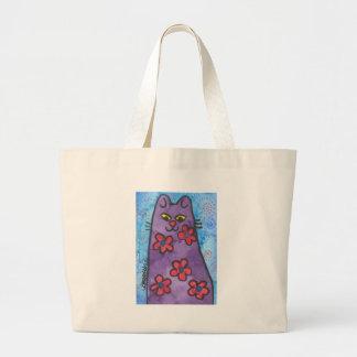 Gato florecido púrpura de la diversión bolsa de mano