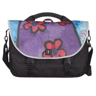 Gato florecido púrpura de la diversión bolsas de portatil