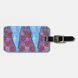 Gato florecido púrpura de la diversión etiquetas de equipaje