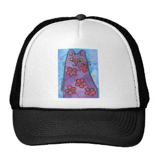 Gato florecido púrpura de la diversión gorras de camionero