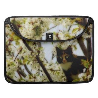 Gato floreciente funda macbook pro