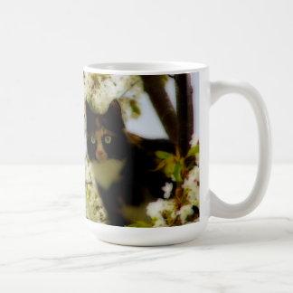 Gato floreciente taza