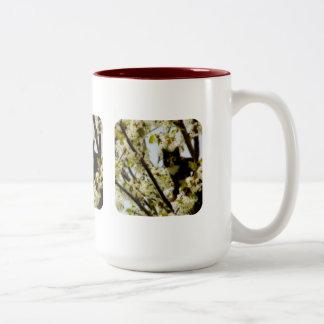 Gato floreciente taza de dos tonos