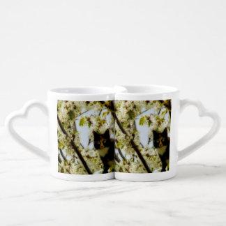 Gato floreciente tazas para parejas