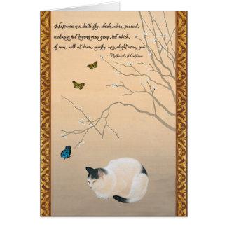 Gato, flores del ciruelo, y cumpleaños del japonés tarjeta de felicitación