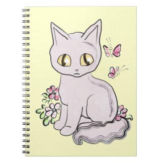 Gato fresco BG amarilla clara del gatito Libro De Apuntes