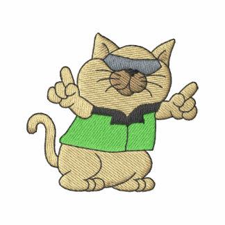 Gato fresco camiseta polo bordada