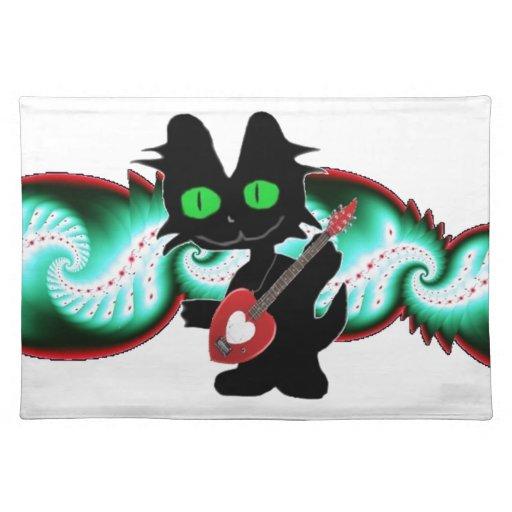 Gato fresco con una guitarra mantel individual