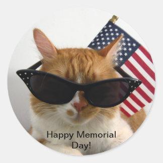 Gato fresco del Memorial Day feliz con el pegatina
