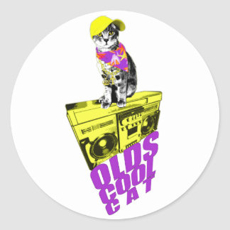 gato fresco del oldschool etiquetas redondas