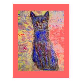 gato fresco filosófico postal