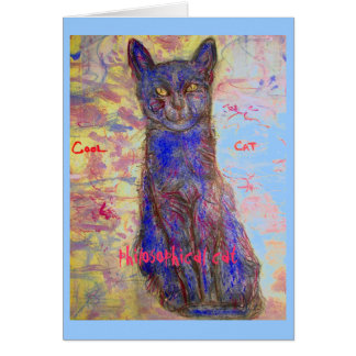gato fresco filosófico tarjeta de felicitación