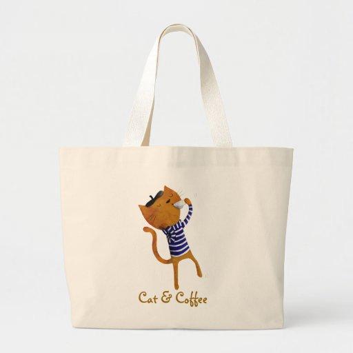 Gato fresco francés bolsa lienzo