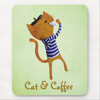 Gato fresco francés mousepad