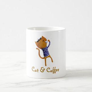 Gato fresco francés taza básica blanca