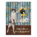 Gato/gatito adaptables divertidos del café tarjeta postal