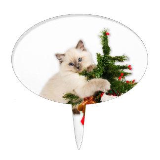 Gato-Gatito del navidad en el árbol de navidad Figura De Tarta