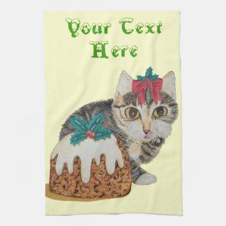 Gato gatito del tabby y del pudín grises lindos toallas de cocina