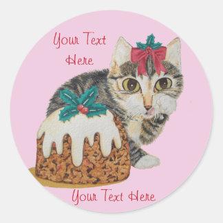 gato gatito del tabby y del pudín grises lindos pegatina redonda