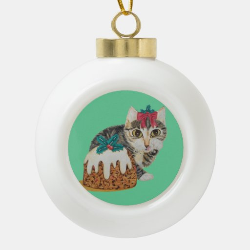 gato gatito del tabby y del pudín lindos del adorno de cerámica en forma de bola