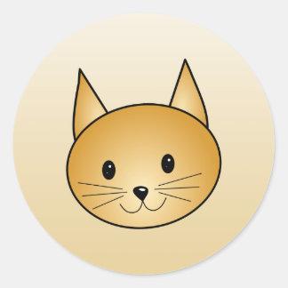 Gato. Gatito lindo del jengibre Pegatina Redonda