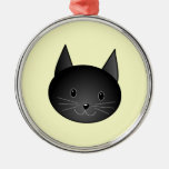 Gato. Gatito negro adorable Ornamento De Navidad