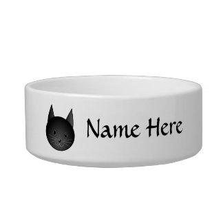 Gato. Gatito negro lindo Tazones Para Agua Para Gatos