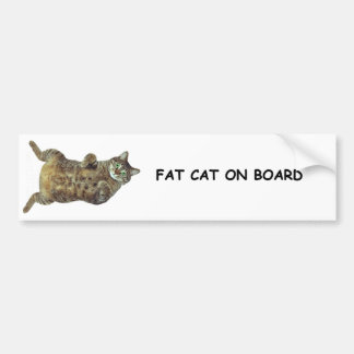 Gato gordo a bordo pegatina de parachoque