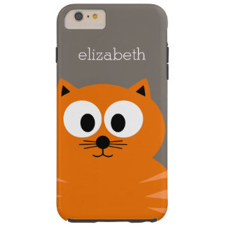 Gato gordo anaranjado lindo con de color topo funda de iPhone 6 plus tough