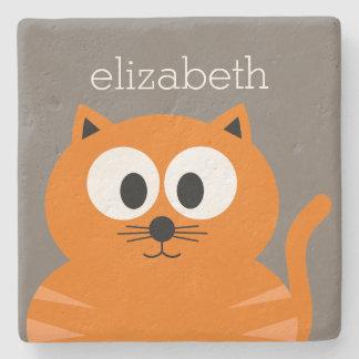 Gato gordo anaranjado lindo con de color topo posavasos de piedra