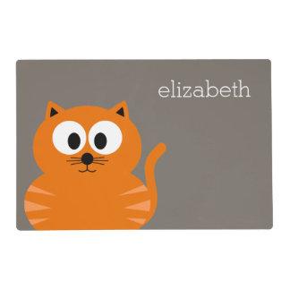 Gato gordo anaranjado lindo con de color topo tapete individual